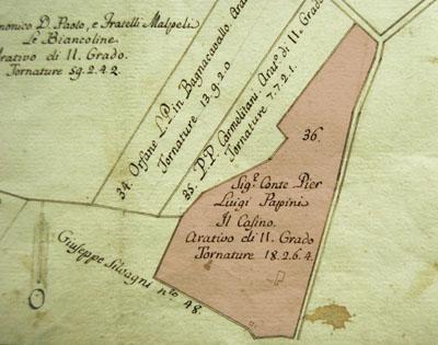 Stralcio della planimetria del Catasto Casoni (1785).